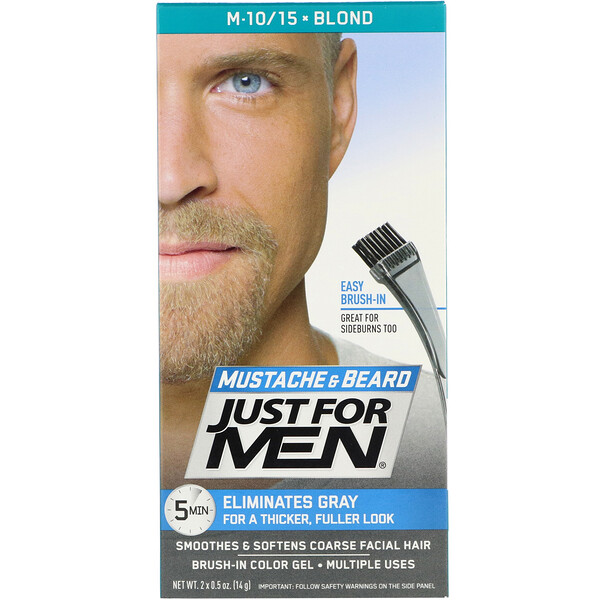 Just for Men, Mustache & Beard, Brush-In Color Gel, Blond M-10/15, 2 x 0.5 oz (14 g)