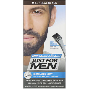 Just for Men, Mustache & Beard, Brush-In Color Gel, Real Black M-55, 2 x 0.5 oz (14 g) отзывы