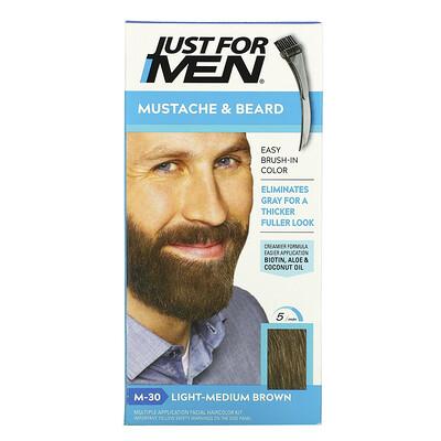 Just for Men Mustache & Beard, Brush-In Color, M-30 Light-Medium Brown , 1 Multiple Application Kit