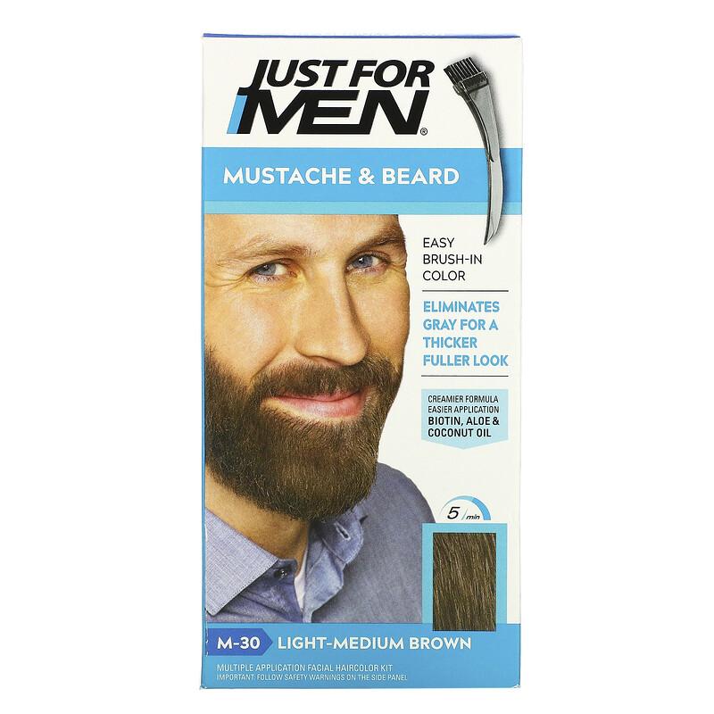 Just for Men, Mustache & Beard, Brush-In Color, M-30 Light-Medium Brown , 1 Multiple Application Kit