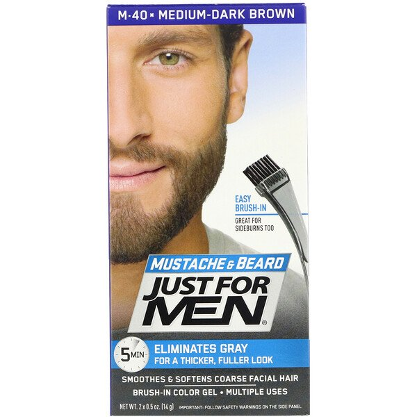 Mustache & Beard, Brush-In Color Gel, Medium-Dark Brown M-40, 2 x 0.5 oz (14 g)