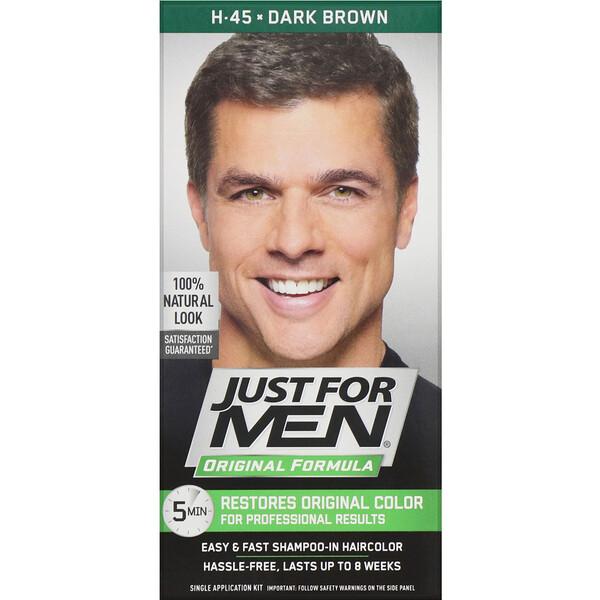 צבע שיער לגברים בפורמולה מקורית, גוון חום H-45, ערכה לשימוש אחד