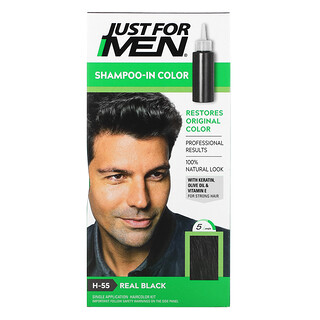 Just for Men, 彩色洗髮水,純黑 H-55,一次性染髮套裝