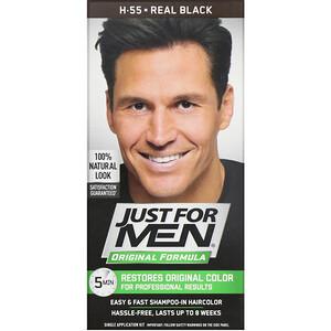 Just for Men, Original Formula Men's Hair Color, Real Black H-55, Single Application Kit отзывы