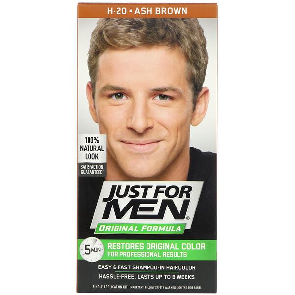 Tintura para cabelo masculino Fórmula original, Ash Brown H-20, Kit com uma aplicação