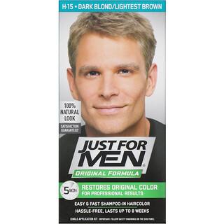 Just for Men, 原裝男士染髮劑配方,深金色/淺棕色 H-15,單次套裝