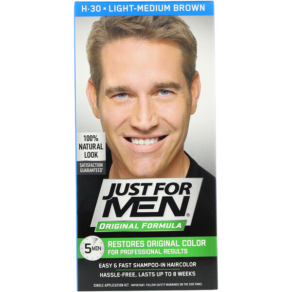 Original Formula Men's Hair Color, Light-Medium Brown H-30, Single Application Kit