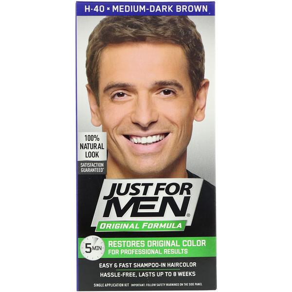 Just for Men, Original Formula Men's Hair Color, Medium-Dark Brown H-40, Single Application Kit (Discontinued Item)