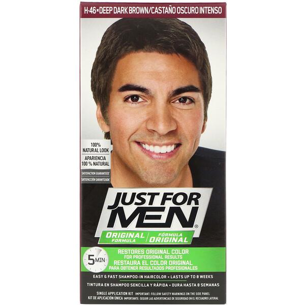 Just for Men, Colorante para el cabello masculino Fórmula original, Marrón oscuro intenso H-46, Kit de aplicación única (Discontinued Item)