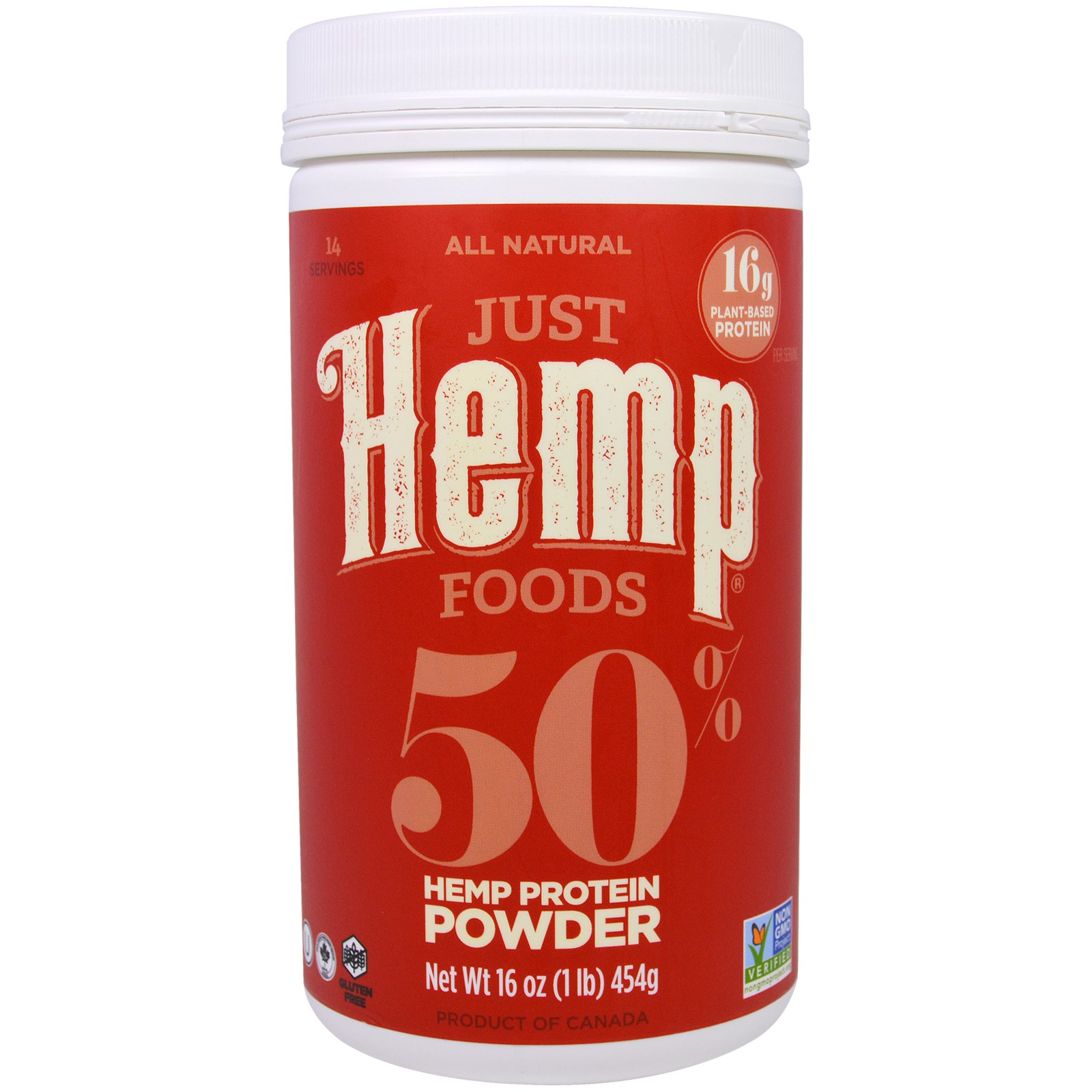Just Hemp Foods, 50% Порошок Конопляного Белка, 16 унций (454 г)