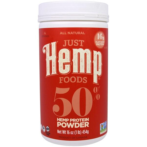 Just Hemp Foods, 50% proteína de cáñamo en polvo, 16 onzas (454 g)