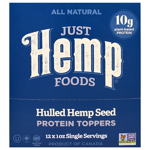 Just Hemp Foods, Hulled Hemp Seed Protein Toppers, 12 Packets, 1 oz (30 g) Each (Discontinued Item)