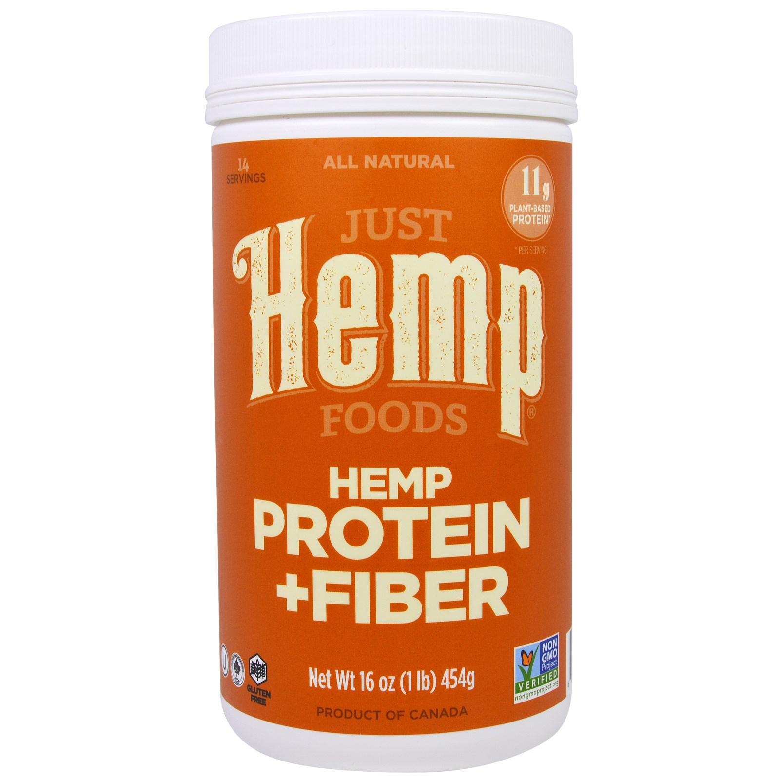 Just Hemp Foods, Конопляный Белок + Волокно, 16 унций (454 г)