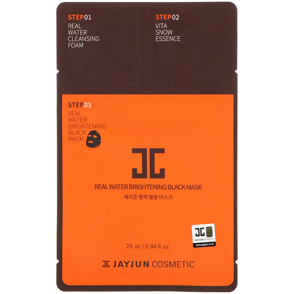 Jayjun Cosmetic, Real Water Brightening Black Mask, 1 Mask, 0.84 fl oz (25 ml) (Discontinued Item)
