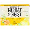 Jakemans, Throat & Chest, Honey & Lemon Flavored Lozenges, 24 Lozenges