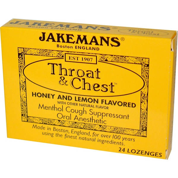 Jakemans, Throat & Chest, Honey and Lemon Flavored, 24 Lozenges