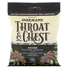 Jakemans, 喉嚨和胸部,八角香味,30片含片