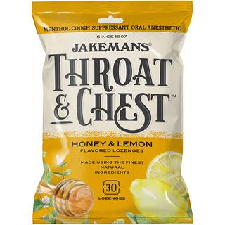 Jakemans, Gorge et poitrine, saveur miel et citron, 30 pastilles
