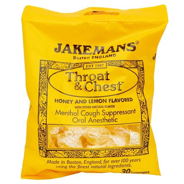 Jakemans, Throat & Chest, Honey and Lemon Flavored, 30 Lozenges