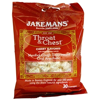 Jakemans, Throat & Chest, Menthol Cough Suppressant, Cherry Flavored, 30 Lozenges