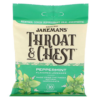 Jakemans, Throat & Chest, Peppermint Flavored, 30 Lozenges