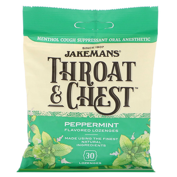 Jakemans, Throat & Chest, Peppermint Flavored, 30 Lozenges (Discontinued Item)