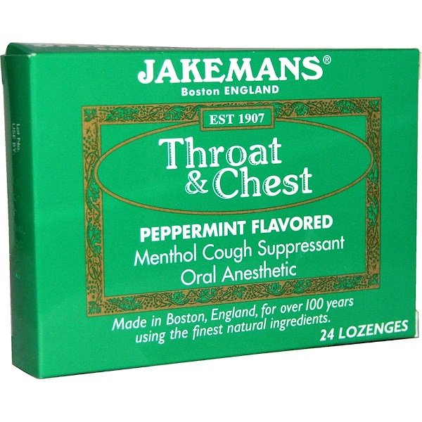 Jakemans, Throat & Chest, Peppermint Flavored, 24 Lozenges (Discontinued Item)