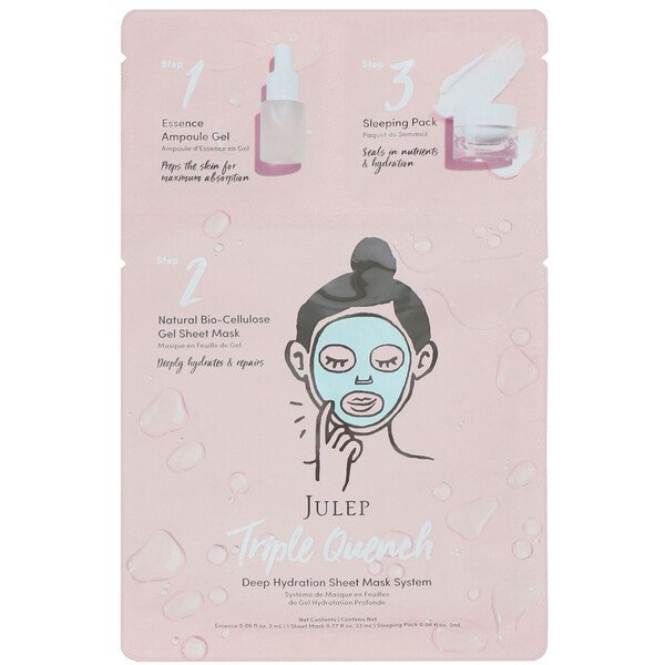 Julep, Triple Quench, Deep Hydration Sheet Mask System, 1 Mask