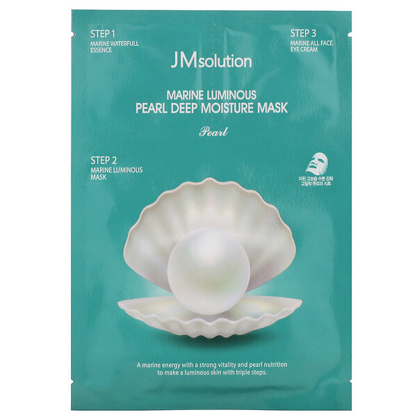 JM Solution, Mascarilla de humectación profunda en 3 pasos Perla luminosa marina, 1 set (Discontinued Item)