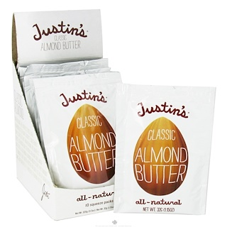 Justin's Nut Butter, Manteca de almendra clásica, completamente natural, 10 packs apretables, 1,15 oz (32 g) por pack