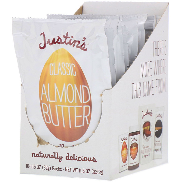 Justin's Nut Butter, クラシック・アーモンドバター, 全天然, スクイーズパック 10ヶ, 1パックあたり、1.15 オンス (32 g) (Discontinued Item)