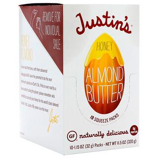 Justin's Nut Butter, Миндальное масло с медом, 10 пакетиков, 1,15 унций (32 г) каждый