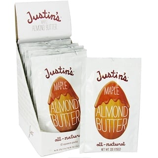 Justin's Nut Butter, Maple Almond Butter (Mantequilla de Arce y Manzana), 10 Squeeze Packs, 1.15 oz (32 g) Cada Una