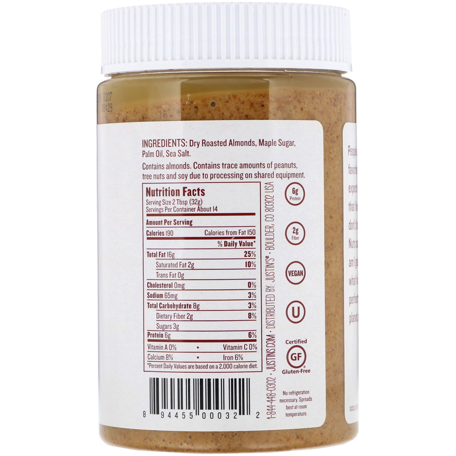 Justin S Nut Butter Maple Almond Butter 16 Oz 454 G Iherb