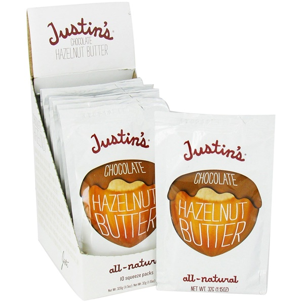 Justin's Nut Butter, Chocolate Hazelnut Butter Blend, 10 Squeeze Packs, 1.15 oz (32 g) Per Pack