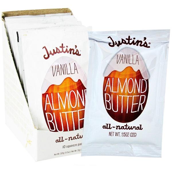 Justin's Nut Butter, Ванильное миндальное масло, 10 пакетов, 32 г (1,15 унций) каждый