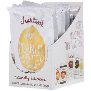 Justin's Nut Butter, Classic Peanut Butter, 10 Squeeze Packs, 1.15 oz (32 g) Per Pack