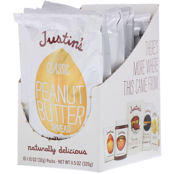 Justin's Nut Butter, Classic Peanut Butter, 10 Squeeze Packs, 1.15 oz (32 g) Per Pack (Discontinued Item)
