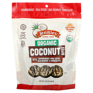 Jennies Macaroons, Organic Coconut Bites, Cranberries, Chia Seeds, Goji Berries, Chocolate, 5.25 oz (149 g)
