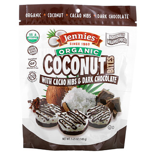 Jennies Gluten Free Bakery, Organic Coconut Bites, with Cacao Nubs & Dark Chocolate, 5.25 oz (149 g)