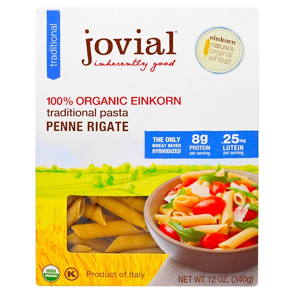 Jovial, Organic Traditional Einkorn Pasta, Penne Rigate, 12 oz (340 g)