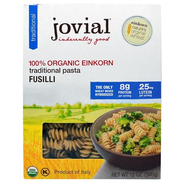 Jovial, Organic, Traditional Pasta, Fusilli, 12 oz (340 g) (Discontinued Item)