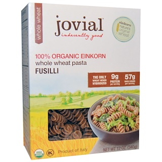 Jovial, Whole Wheat Pasta, Fusilli, 100% Organic Einkorn, 12 oz (340 g)