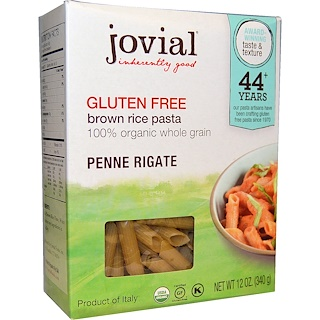 Jovial, Brown Rice Pasta, Penne Rigate, Organic, 12 oz (340 g)