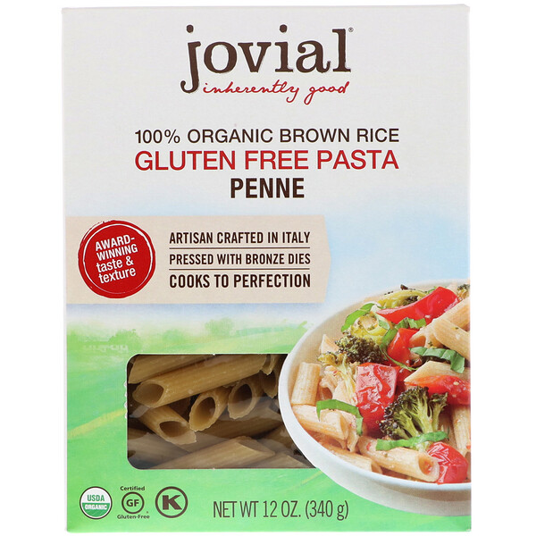 Jovial, 100% Organic Brown Rice Pasta, Penne , 12 oz (340 g)