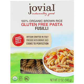 Jovial, 100% Organic Brown Rice Pasta, Fusilli, 12 oz (340 g)