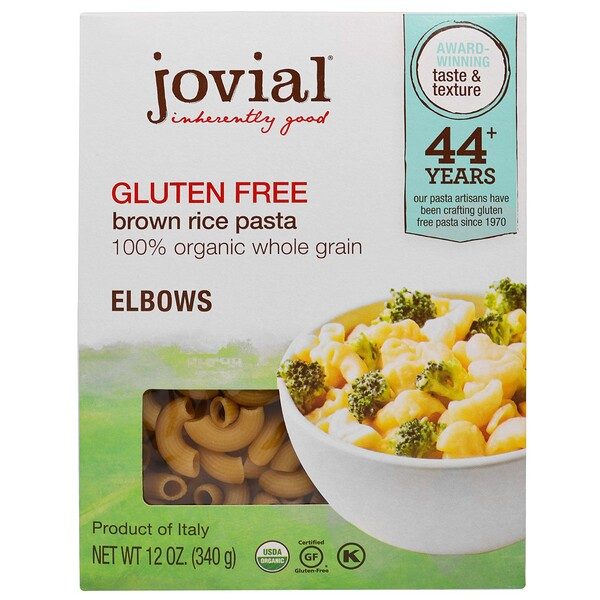 Jovial, Organic Brown Rice Pasta, Elbows, Gluten Free, 12 oz (340 g)