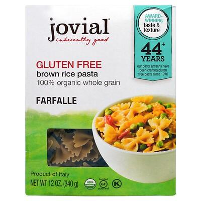 Jovial Органическая паста (макаронные изделия) из коричневого риса, фарфалле, 12 унций (340 г)