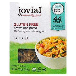 Jovial, Organic Brown Rice Pasta, Farfalle, 12 oz (340 g)