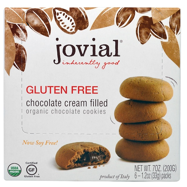 Jovial, オーガニック・チョコレートクッキー、チョコレートクリーム入り、グルテンフリー、1.2オンス(33g)6パック
